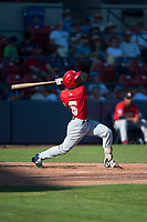 Vancouver Canadians third baseman Otto Lopez (5) follows through on his swing during a Northwest League game against the Spokane Indians at Avista Stadium on September 2, 2018 in Spokane, Washington. The Spokane Indians defeated the Vancouver Canadians by a score of 3-1. (Zachary Lucy/Four Seam Images)