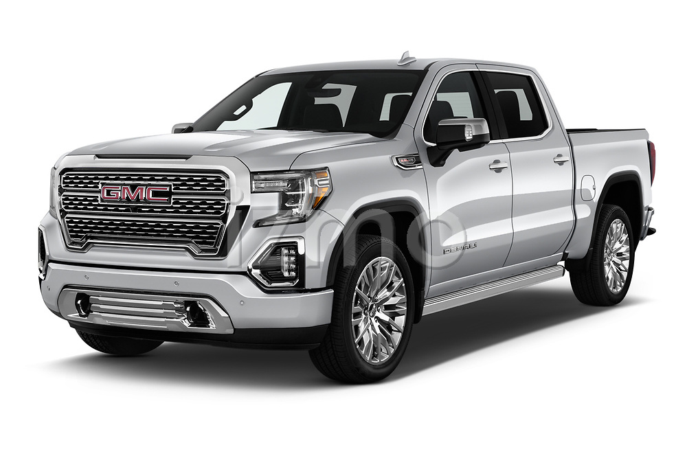 2019 GMC Sierra 1500 Denali Base 4 Door Pick Up angular front stock photos of front three quarter view
