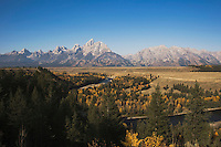 Tetons Reflecting in snake river, Snake river overlook, Grand Teton NP,Wyoming, USA