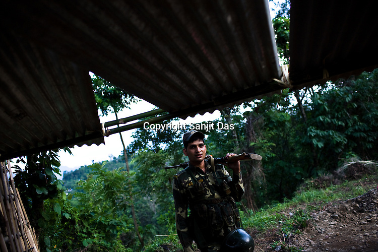 Soldiers of the Central Reserve Police Force (CRPF) are seen patrolling the tense areas in the outskirts of Haflong city. Ethnic clashes are regularly taking place between Zeme Nagas and the Dimasa tribe in North Cachar Hills in Assam, India.