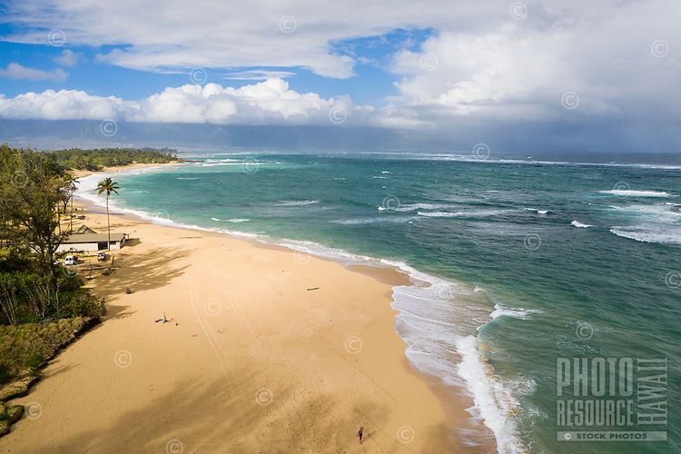 Aerial view of Baldwin Beach and Pa'ia coastline, Maui.