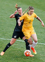 June 4, 2016: LARISSA CRUMMER (2) of Australia and ANNA GREEN (3) of New Zealand compete for the ball during an international friendly match between the Australian Matildas and the New Zealand Football Ferns as part of the teams' preparation for the Rio Olympic Games at Morshead Park in Ballarat. Photo Sydney Low