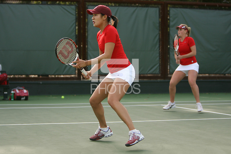 STANFORD, CA - FEBRUARY 10:  Jennifer Yen and Logan Hansen of the Stanford Cardinal during Stanford's match against the Cal Poly Mustangs on February 10, 2009 at the Taube Family Tennis Stadium in Stanford, California.
