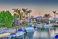 Naples Canals; Luxury; Houses; Blue Sky; Water Reflections; Boats Docked; Duffys, Palm Trees, Kayaks, Bridges, Alamitos Bay