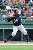 Infielder Reymond Nunez (33) of the Charleston RiverDogs bats in a game against the Greenville Drive on Sunday, May 19, 2013, at Fluor Field at the West End in Greenville, South Carolina. Charleston won, 9-7.  (Tom Priddy/Four Seam Images)