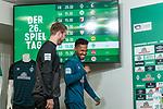 15.03.2019, Weserstadion, Bremen, GER, 1.FBL, PK SV Werder Bremen<br /> <br /> im Bild<br /> Florian Kohfeldt (Trainer SV Werder Bremen), Theodor Gebre Selassie (Werder Bremen #23), <br /> bei PK / Pressekonferenz vor dem Auswärtsspiel bei Bayer 04 Leverkusen, <br /> <br /> Foto © nordphoto / Ewert