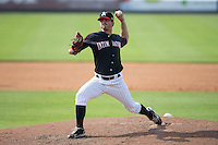 Kannapolis Intimidators relief pitcher Ryan Riga (32) in action against the Hagerstown Suns at CMC-Northeast Stadium on August 16, 2015 in Kannapolis, North Carolina.  The Suns defeated the Intimidators 7-2 in game one of a double-header.  (Brian Westerholt/Four Seam Images)