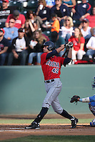 Jared Oliva (42) of the Arizona Wildcats bats during a game against the UCLA Bruins at Jackie Robinson Stadium on May 16, 2015 in Los Angeles, California. UCLA defeated Arizona, 6-0. (Larry Goren/Four Seam Images)
