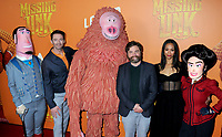 "07 April 2019 - New York, New York - Hugh Jackman, Zach Galifianakis and Zoe Saldana with movie characters at the New York Premiere of ""MISSING LINK"", held at Regal Cinemas Battery Park II. Photo Credit: LJ Fotos/AdMedia"