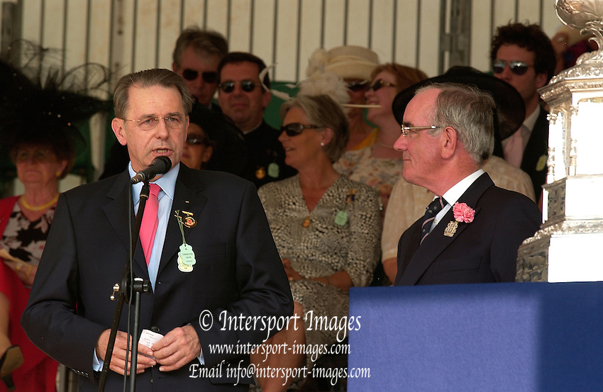 Henley Royal Regatta. Henley-on-Thames,  ENGLAND, Sunday, 02.07.2006. 2006 Prizegiver,  Dr Jacques  ROGGE, left, and Regatta Chairman Mike SWEENEY,  Phot o  Peter Spurrier/Intersport Images. email images@intersport-images.com... Henley Royal Regatta, Rowing Courses, Henley Reach, Henley, ENGLAND [Mandatory credit; Peter Spurrier/Intersport Images] 2006 . HRR.