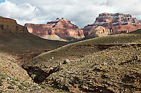 Angels Gate (left) and Wotens Throne (right) are dusted with snow as seen from the Tonto Plateau.