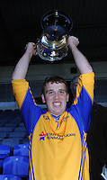 13-08-2014 : Kieran Fitzgibbon, captain of the Kenmare District  team, raises the cup fter winning the  Kerry U-21 football Championship final at Fitzgerald Stadium, Killarney,  on Wednesday night. Picture: Eamonn Keogh (MacMonagle, Killarney)
