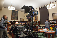 "Filming at the library of the television show, ""Greek"" (or ""GR∑∑K"") directed by Patrick Norris, camera by Jules Labarthe, episode # 2023, season 2. An ABC Family original series. On the campus of Occidental College, Los Angeles, California, January 6, 2009. (Photo by Marc Campos, College Photographer, Copyright Occidental College)"