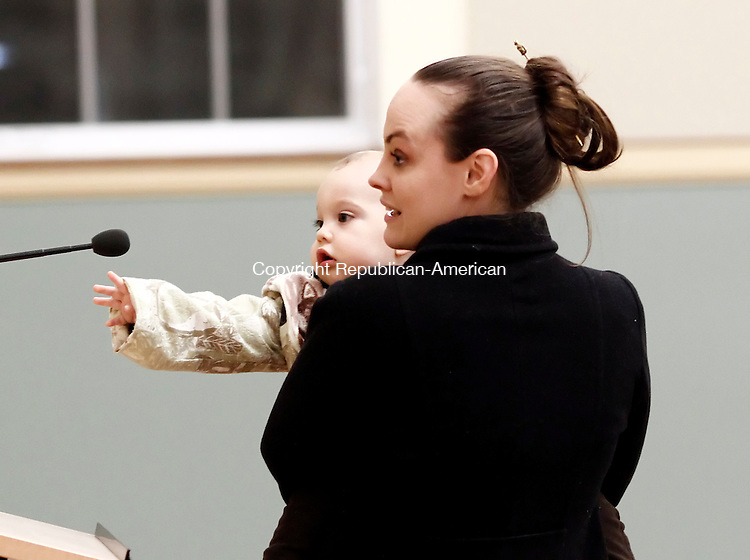 TORRINGTON, CT- 14 January 2015-011415CM10- Torrington opera singer, Katie Kat Smith addresses members of the Planning and Zoning Commission during a hearing at the town hall on Wednesday.  With Smith is her 11 month old son, Sebastian Anderson.  Christopher Massa Republican-American