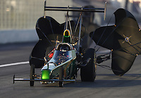 Feb 9, 2017; Pomona, CA, USA; NHRA top alcohol dragster driver Casey Grisel during qualifying for the Winternationals at Auto Club Raceway at Pomona. Mandatory Credit: Mark J. Rebilas-USA TODAY Sports