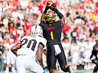 College Park, MD - SEPT 23, 2017: Maryland Terrapins wide receiver D.J. Moore (1) with a reception during game between Maryland and UCF at Capital One Field at Maryland Stadium in College Park, MD. (Photo by Phil Peters/Media Images International)