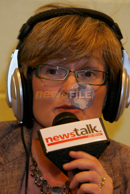 Mairead McGuinness MEP FG speaking on radio at the Louth Election count in Dundalk ..Photo: Newsfile/Fran Caffrey..
