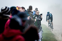 Filippo Ganna (ITA/Team Sky) riding through the dust. <br /> <br /> 117th Paris-Roubaix (1.UWT)<br /> 1 Day Race: Compiègne-Roubaix (257km)<br /> <br /> ©kramon