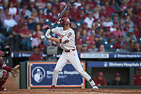 Peyton Graham (20) of the Oklahoma Sooners at bat against the Arkansas Razorbacks in game two of the 2020 Shriners Hospitals for Children College Classic at Minute Maid Park on February 28, 2020 in Houston, Texas. The Sooners defeated the Razorbacks 6-3. (Brian Westerholt/Four Seam Images)