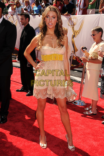 JACQUELINE MacINNES WOOD .35th Annual Daytime Emmy Awards at the Kodak Theatre, Hollywood, California, USA..June 20th, 2008.full length strapless beige yellow strapless dress belt sheer lace clutch bag hand on hip .CAP/ADM/BP.©Byron Purvis/AdMedia/Capital Pictures.