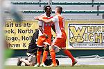04 April 2015: Carolina's Tiyi Shipalane (RSA) (left) celebrates his goal with Wes Knight (8). The Carolina RailHawks hosted the Ottawa Fury FC at WakeMed Stadium in Cary, North Carolina in a North American Soccer League 2015 Spring Season match. Carolina won the game 3-1.
