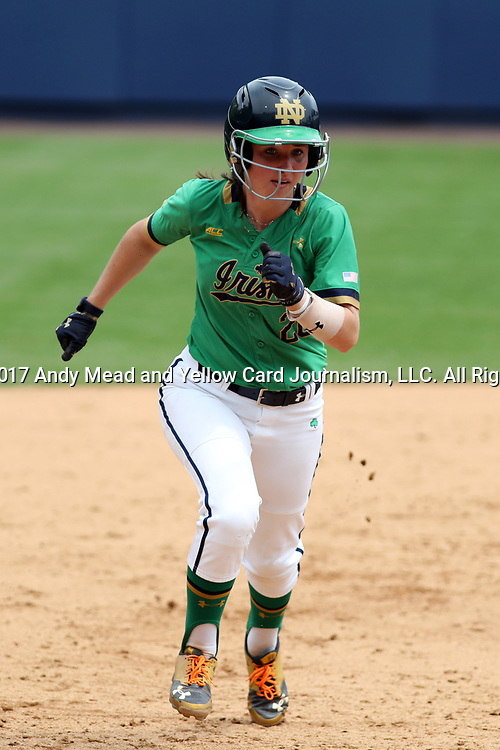 CHAPEL HILL, NC - MAY 11: Notre Dame's Morgan Reed races to third base. The #4 Boston College Eagles played the #5 University of Notre Dame Fighting Irish on May 11, 2017, at Anderson Softball Stadium in Chapel Hill, NC in a 2017 Atlantic Coast Conference Tournament Quarterfinal Softball game. Notre Dame won the game 9-5 in eight innings.