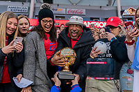 CARSON, CA - FEBRUARY 9: Christen Press #20 of the United States gives the Golden Ball trophy to her father, Cody Press during a game between Canada and USWNT at Dignity Health Sports Park on February 9, 2020 in Carson, California.