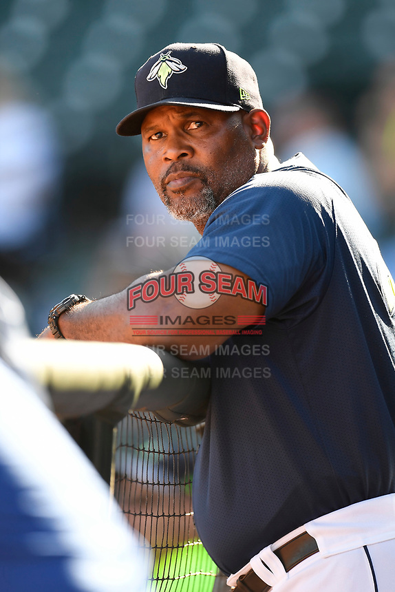 Pitching coach Jonathan Hurst (48) of the Columbia Fireflies in a game against the Augusta GreenJackets on Sunday, July 30, 2017, at Spirit Communications Park in Columbia, South Carolina. Augusta won, 6-0. (Tom Priddy/Four Seam Images)