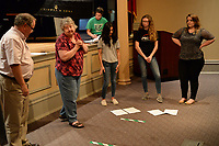 "NWA Democrat-Gazette/ANDY SHUPE<br /> Katherine Shurlds (center) leads local journalists Wednesday, Sept. 18, 2019, as they rehearse a dance number for ""Gridiron"" in Giffels Auditorium in Old Main on the University of Arkansas campus in Fayetteville."