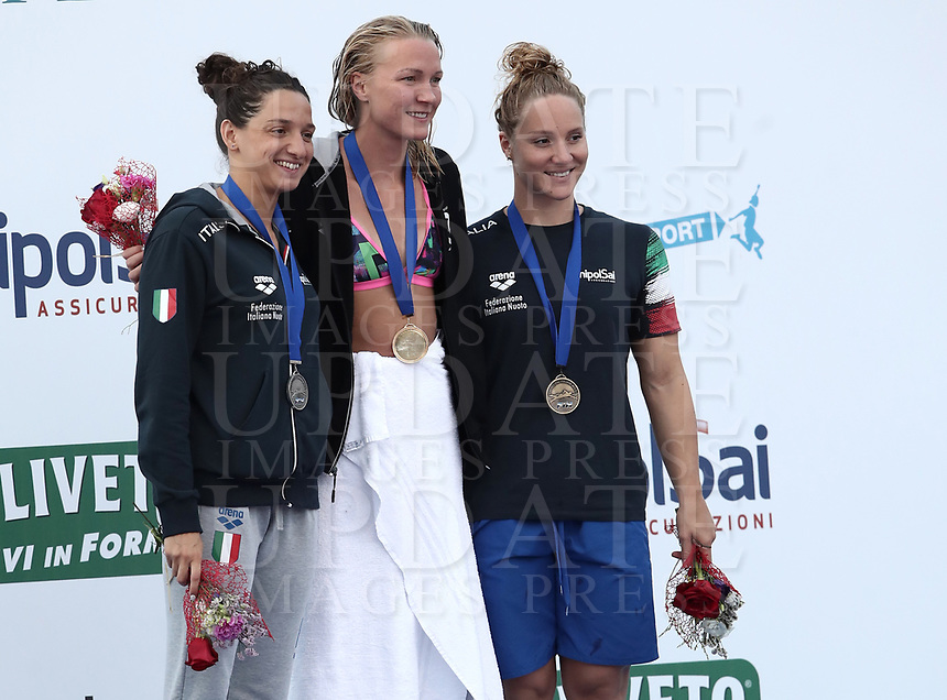 Swimming 55° Settecolli trophy Foro Italico, Rome on June 30, June 2018.<br /> Women's 100 meters Butterfly podium at the Settecolli swimming trophy: Sarah Sjoestroem (c), of Sweden, goal medal, Elena Di Liddo (l), of Italy, silver medal, Ilaria Bianchi (r), of Italy, bronze medal. <br /> Rome, on June 30, 2018.<br /> UPDATE IMAGES PRESS/Isabella Bonotto