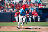 Spokane Indians right fielder Starling Joseph (39) starts down the first base line during a Northwest League game against the Vancouver Canadians at Avista Stadium on September 2, 2018 in Spokane, Washington. The Spokane Indians defeated the Vancouver Canadians by a score of 3-1. (Zachary Lucy/Four Seam Images)