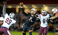 Verona quarterback, Adam Bekx, passes in the second quarter, as Madison La Follette takes on Verona in Wisconsin Big Eight Conference high school football on Friday, 10/4/19 at Verona High School's Curtis Jones Field