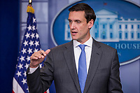 Homeland Security Advisor Tom Bossert speaks with reporters during the White House daily press briefing in the White House Press Briefing Room in Washington, DC on Thursday, September 28, 2017.   Bossert took questions about how the federal government is responding to Hurricane Maria's impact on Puerto Rico. <br /> Credit: Alex Edelman / CNP /MediaPunch