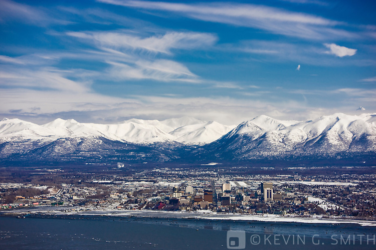 Aerial photo of  Downtown Anchorage taken from the West, late winter, Southcentral Alaska, USA.