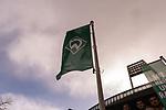 13.03.2020, Am wohninvest WESERSTADION,, Bremen, GER, 1.FBL, Werder Bremen Feature -, im Bild<br /> <br /> <br /> Werder Fahne weht im Wind <br /> Fewature<br /> Foto © nordphoto / Kokenge