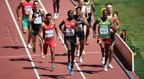 27.08.2015. Beijing, China.  Asbel Kiprop (front C) of Kenya and Aman Wote (front r) of Ethiopia compete during the mens 1500m heat at the 2015 IAAF World Championships at the Birds Nest National Stadium in Beijing, capital of China, Aug. 27, 2015.