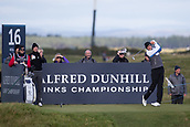 5th October 2017, The Old Course, St Andrews, Scotland; Alfred Dunhill Links Championship, first round; Benjamin Hebert of France tees off on the sixteenth hole on the Old Course, St Andrews during the first round at the Alfred Dunhill Links Championship