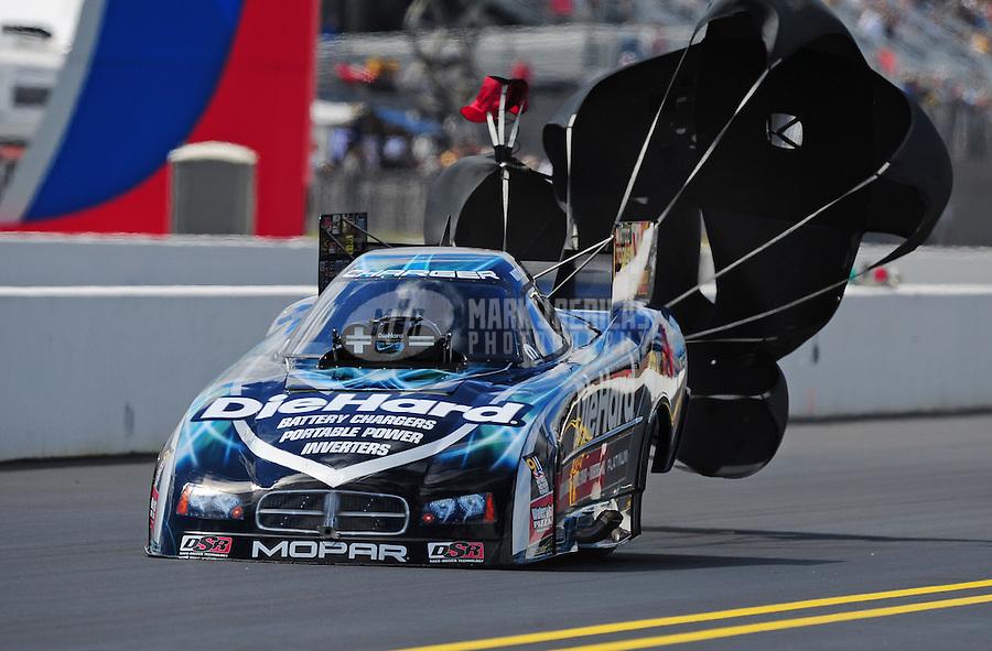 Sept. 18, 2011; Concord, NC, USA: NHRA funny car driver Matt Hagan during the O'Reilly Auto Parts Nationals at zMax Dragway. Mandatory Credit: Mark J. Rebilas-
