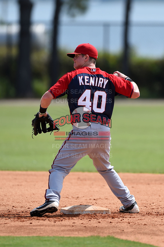 Washington Nationals Conor Keniry (40) during practice before a minor league spring training game against the Detroit Tigers on March 22, 2015 at Tiger Town in Lakeland, Florida.  (Mike Janes/Four Seam Images)