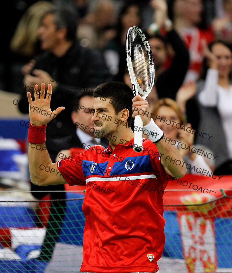 Novak Djokovic of Serbia react during  their match against Gael Monfils, Davis Cup finals tennis match in Belgrade, Serbia, Sunday, Dec. 5, 2010. (credit & photo: Srdjan Stevanovic/Starsportphoto.com)