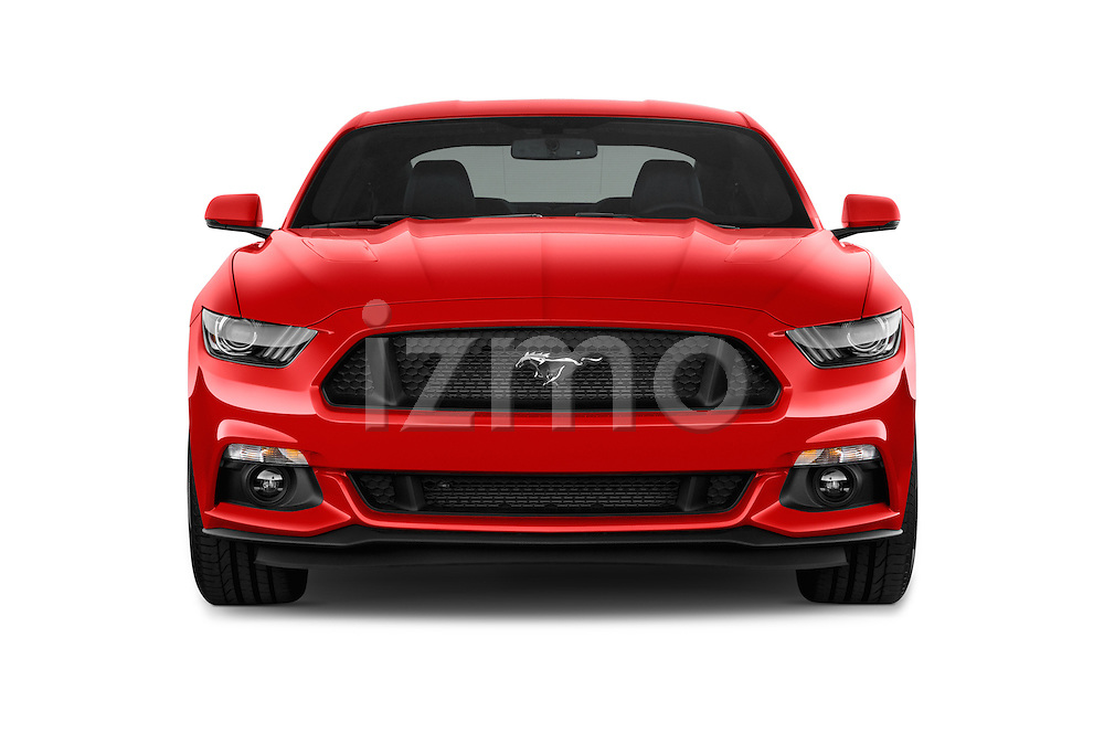 Car photography straight front view of a 2015 Ford Mustang GT Premium 2 Door Coupe