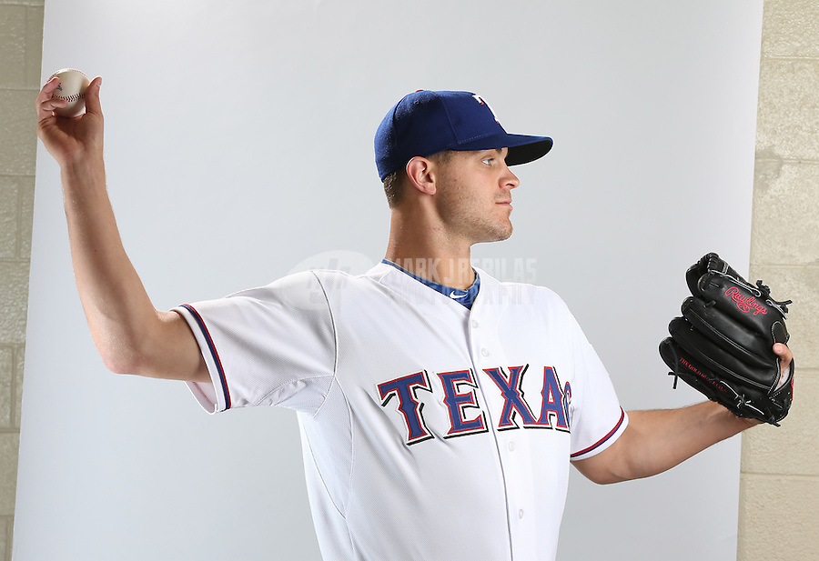 Feb. 20, 2013; Surprise, AZ, USA: Texas Rangers pitcher Justin Grimm poses for a portrait during photo day at Surprise Stadium. Mandatory Credit: Mark J. Rebilas-