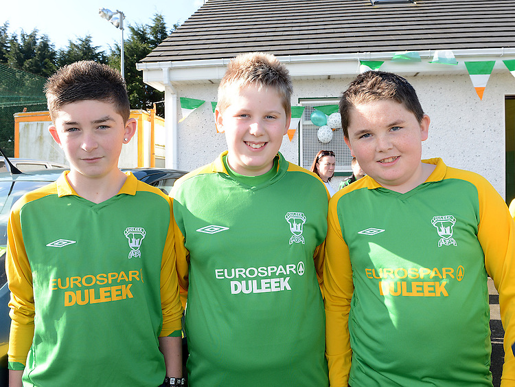 Nathan Lawler, Cormac Little and Niall Collins who took part in the Inaugural Duleek schoolboy/girl soccer club 5k Run/Walk. Photo:Colin Bell/pressphotos.ie