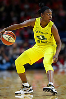 Washington, DC - June 14, 2019: Seattle Storm guard Jewell Loyd (24) handles the ball during game between Seattle Storm and Washington Mystics at the St. Elizabeths East Entertainment and Sports Arena in Washington, DC. The Storm hold on to defeat the Mystics 74-71. (Photo by Phil Peters/Media Images International)