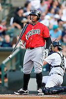 Indianapolis Indians outfielder Jose Tabata #18 during a game against the Empire State Yankees at Frontier Field on August 4, 2012 in Rochester, New York.  Empire State defeated Indianapolis 9-8 in ten innings.  (Mike Janes/Four Seam Images)