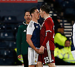 Scott Brown of Scotland and Pierre Emile of Denmark clash during the Vauxhall International Challenge Match match at Hampden Park Stadium. Photo credit should read: Simon Bellis/Sportimage