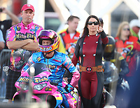 Oct 29, 2016; Las Vegas, NV, USA; NHRA pro stock motorcycle rider Scotty Pollacheck during qualifying for the Toyota Nationals at The Strip at Las Vegas Motor Speedway. Mandatory Credit: Mark J. Rebilas-USA TODAY Sports