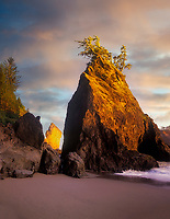 Sunset on rock outcroppings at Boardman State Park, Oregon.