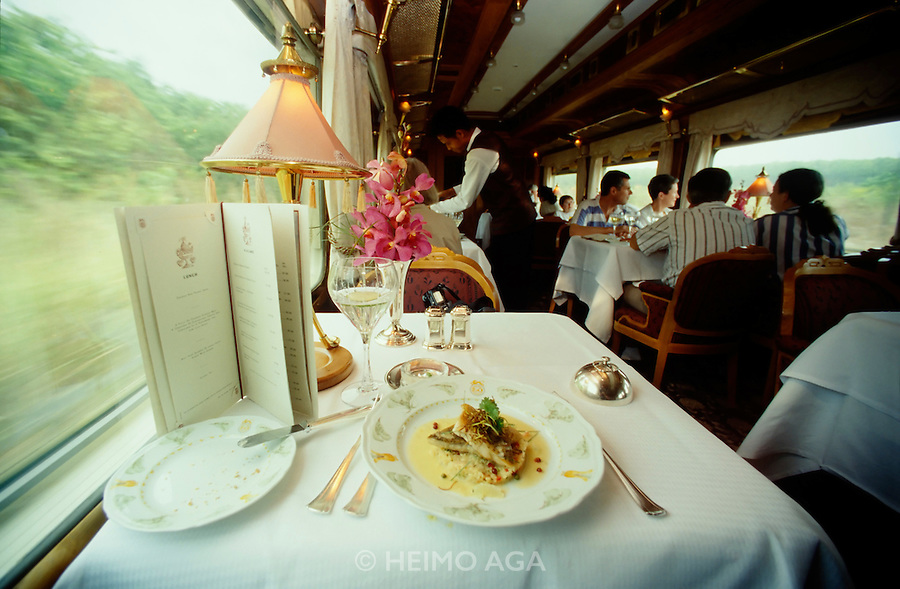 The dining car of the Eastern & Oriental Express.