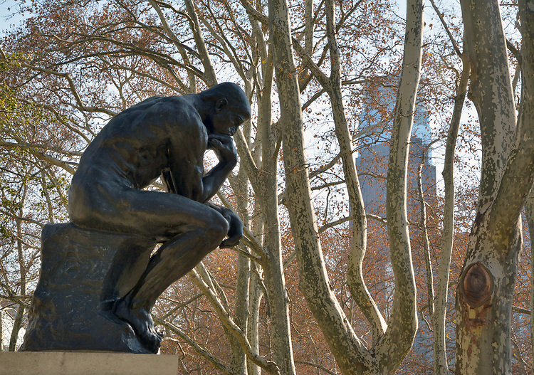 "Bronze Sculpture titled, ""The Thinker"" by Auguste Rodin, in front of the Rodin Museum, on Benjamin Franklin Parkway, in Philadelphia, PA, on Monday, November 27, 2017. Photo by Jim Peppler. Copyright/Jim Peppler-2017."